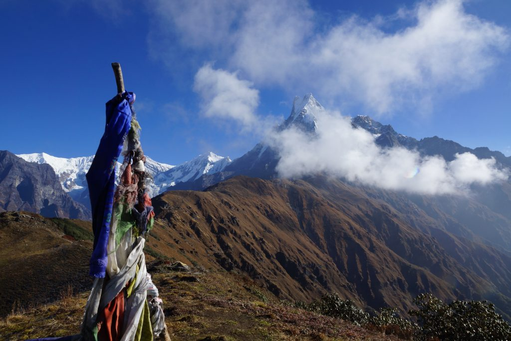 First view point on Macchapucchre (Fishtail) on Mardi Himal Trek in Nepal