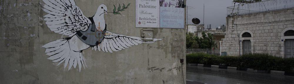 Graffiti bansky peace dove Bethlehem Palestine