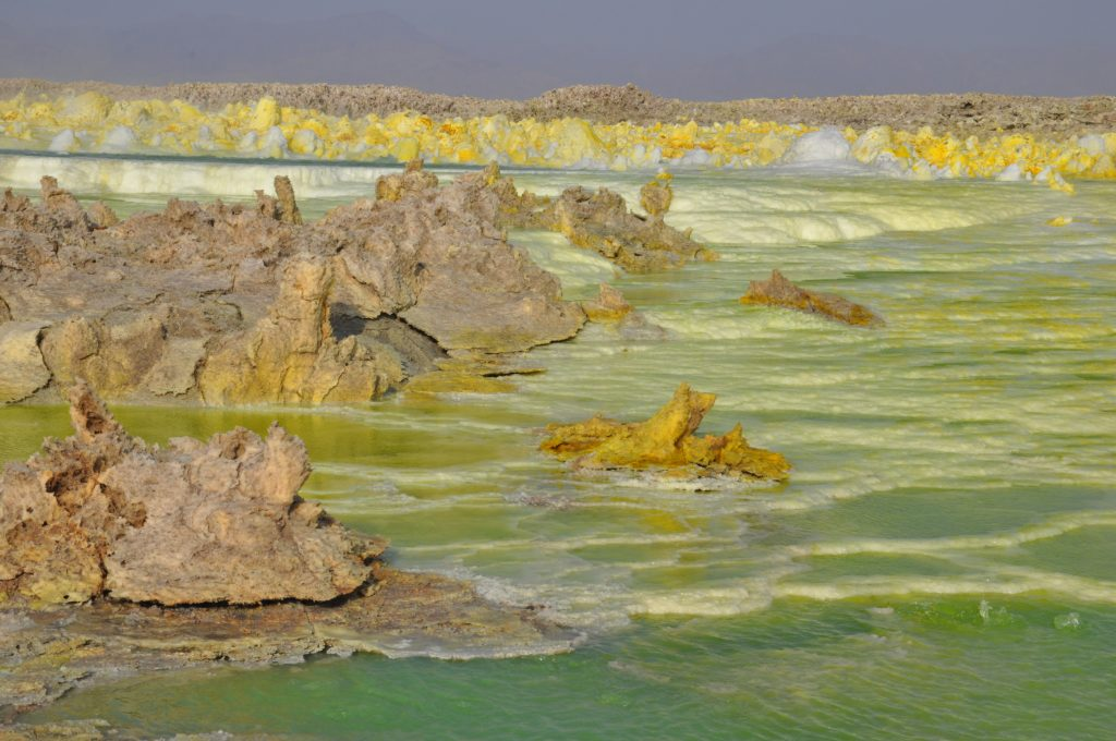 Dallol sulphor spring in Danakil Depression in Ethiopia