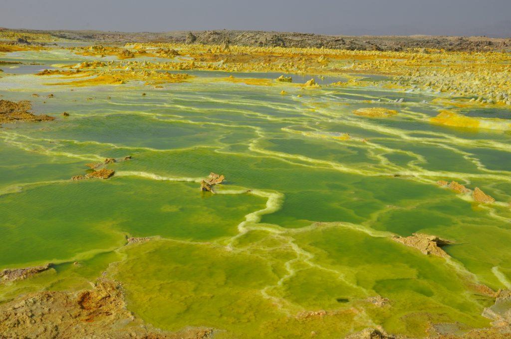 Dallol sulphur springs in Danakil Depression in Ethiopia close to Erta Ale