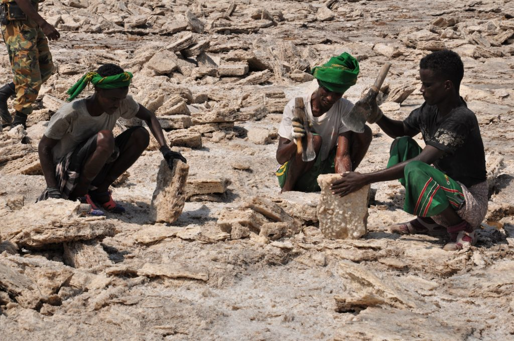 Salt miners in Danakil Depression in Ethiopia close to Erta Ale
