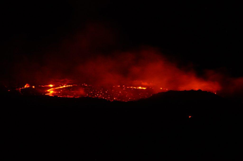 Crater of volcano Erta Ale in Ethiopia