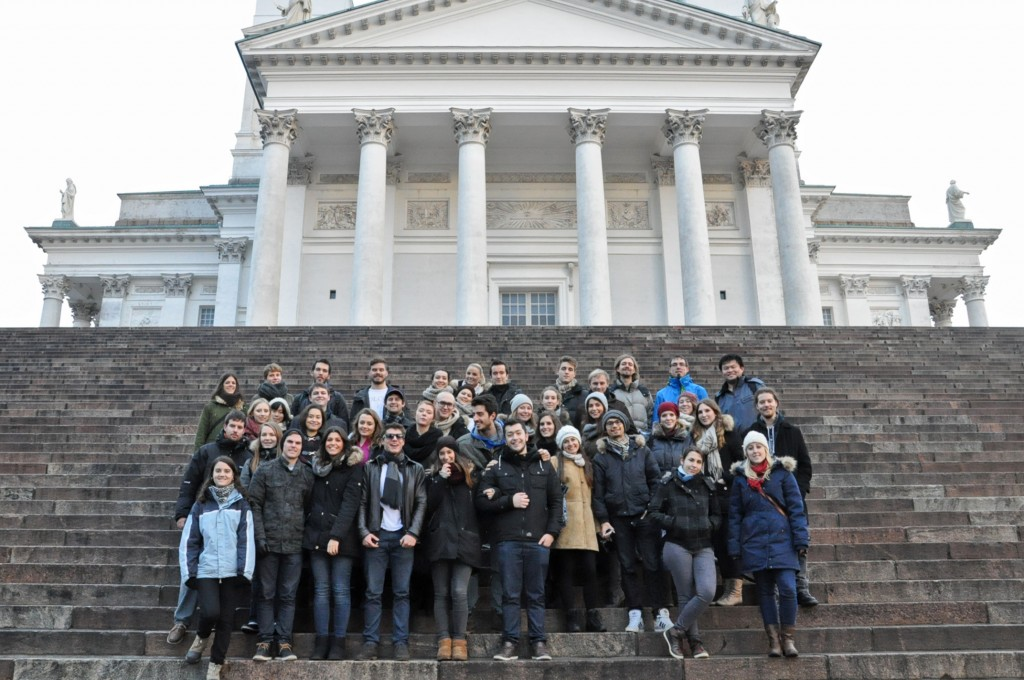 Group picture in front of Tuomiokirkko