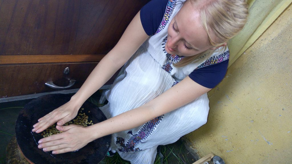 Washing the coffee beans for traditional Ethiopian coffee