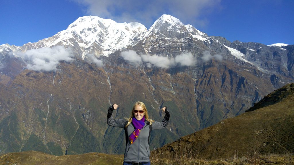 Pure happiness. View on Annapurna mountains on Mardi Himal Trek in Nepal.