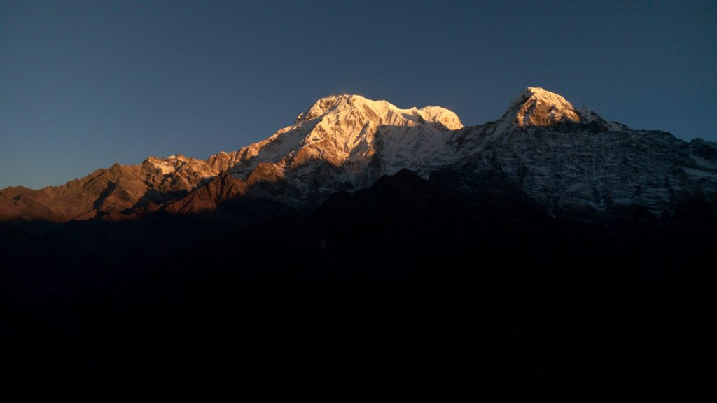 Sunlit loneliness in the Annapurna mountains on Mardi Himal Trek in Nepal