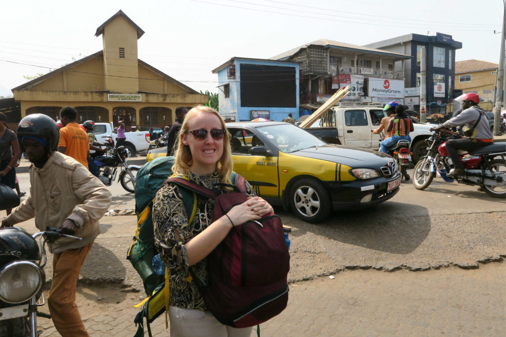 Travelling through Sierra Leone with a backpack.