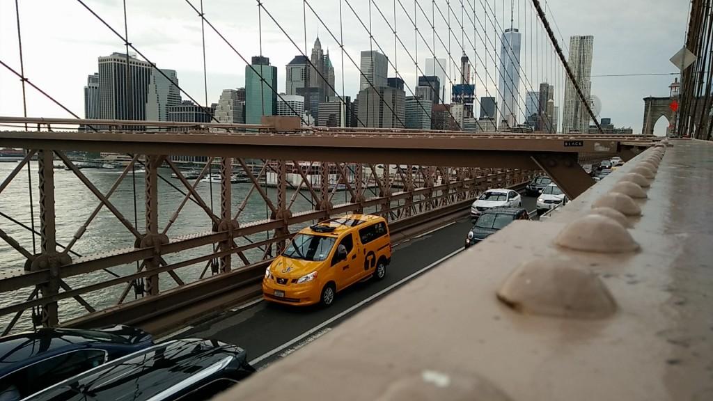 Brooklyn Bridge with a yellow cab