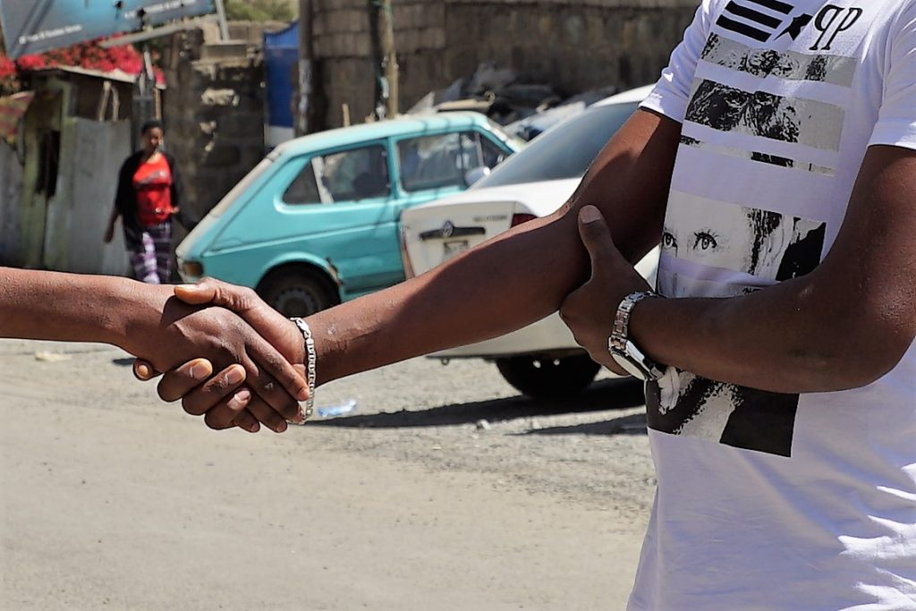 This handshake shows how Ethiopians greet each other